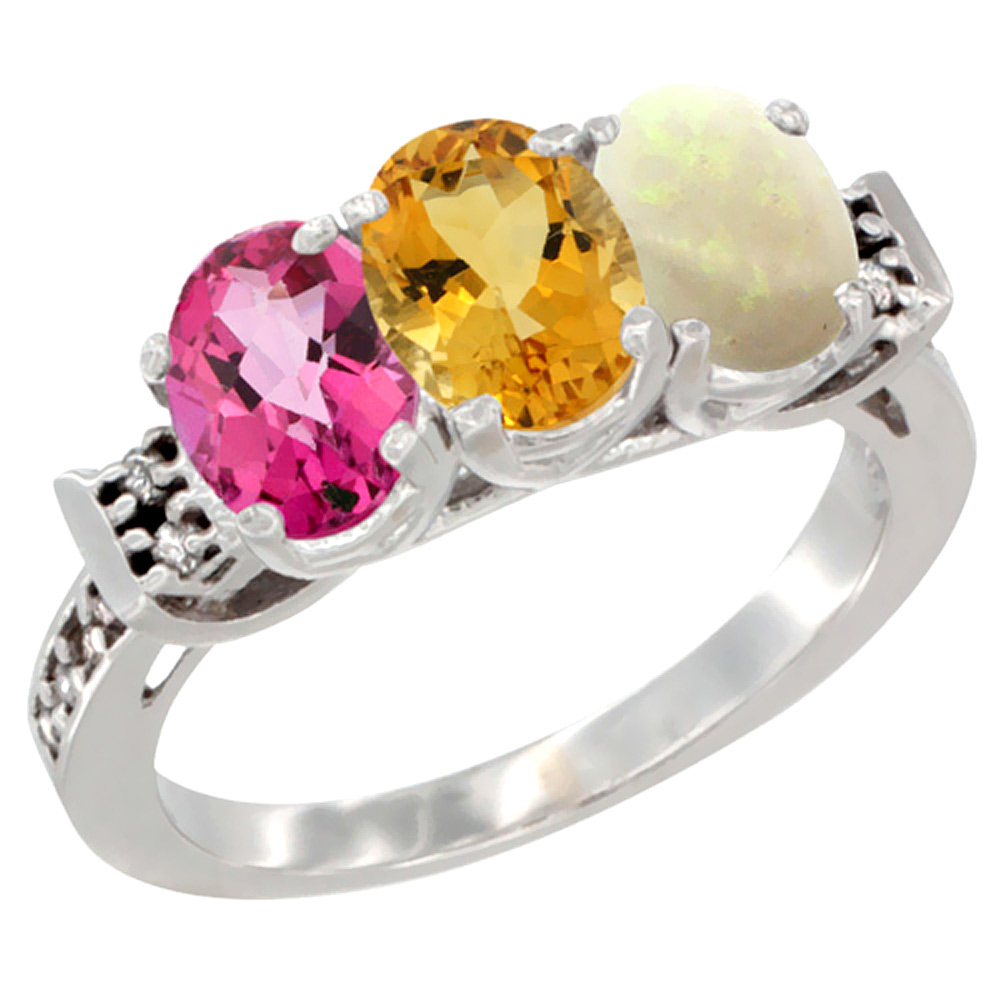 10K White Gold Natural Pink Topaz, Citrine & Opal Ring 3-Stone Oval 7x5 mm Diamond Accent, sizes 5 10 by WorldJewels