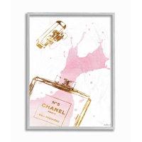 Stupell Industries Glam Perfume Bottle Splash Pink Gold Framed Wall Art by Amanda Greenwood