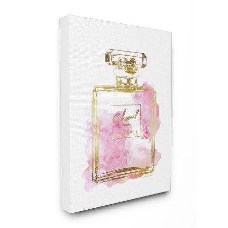 Stupell Industries Perfume Bottle Gold Pink Oversized Canvas Wall Art