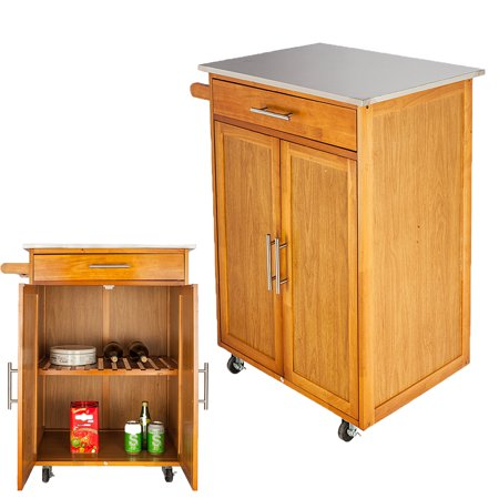 Zimtown Wood Rolling Kitchen Island Trolley Cart teel Top Storage Cabinet 2 Door