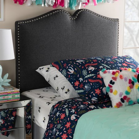 Twin Size Headboard (Baxton Studio Gracie Modern and Contemporary Dark Grey Fabric Upholstered Twin Size Headboard with Nail Heads Trim)