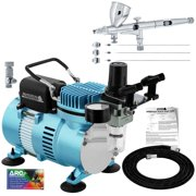 Master Airbrush Dual Fan Air Compressor Kit with a G444 Fine Detail Gravity Feed Airbrush Pro Set, 0.2, 0.3, 0.5 mm Tips
