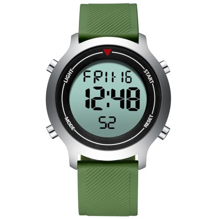 Mens Quartz Watch Green Silicone Strap Analog Display Time Fashion Mens Choice Best for Gift (Best Watches To Start A Collection)