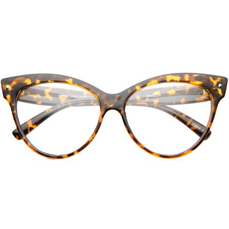 sunglassLA - Womens Bold High Point Clear Lens Oversize Cat Eye Glasses - 63mm - Oversized Glasses