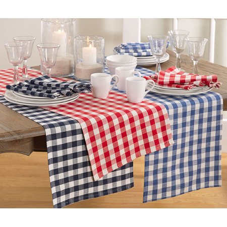 "French Blue  Gingham Checkered Design Cotton Runner 16"" x 72"" Rectangular"