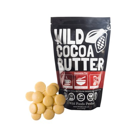 Raw Cocoa Butter Wafers (16 oz) by Wild Foods - Organically grown, Unrefined, Non-Deodorized, Food Grade, Fresh, Excellent For Cooking and Skincare (Foods Cocoa Butter)