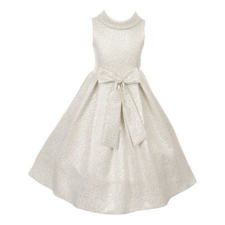 Cinderella Couture Little Girls White Silver Teardrop Jacquard Pearl Dress 2-6 (Couture Childrens Dresses)
