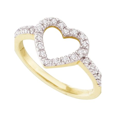 10kt Yellow Gold Womens Round Diamond Simple Heart Outline Ring 1/5 Cttw - image 1 of 1
