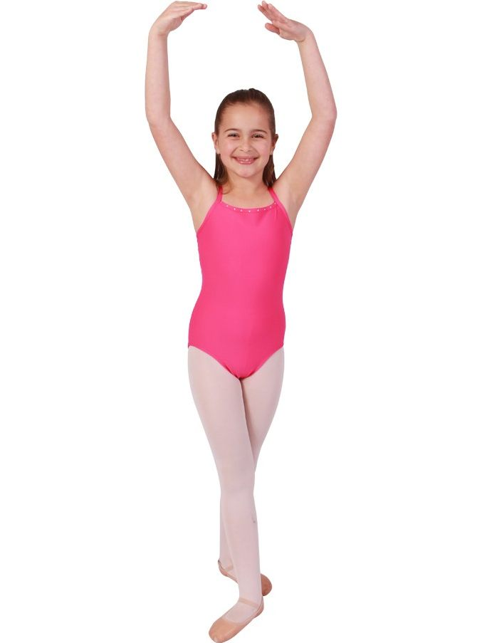 Girls Raspberry Rhinestone Trim Camisole Dancewear Leotard