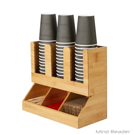 Mind Reader 6 Compartment Upright Coffee Breakroom Condiment and Cup Storage Organizer, Brown
