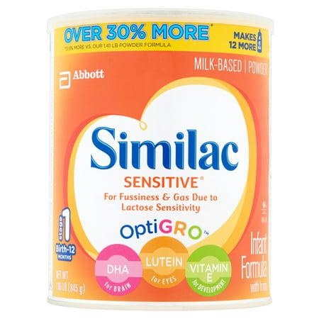 Similac Sensitive Optigro Milk Based Powder Stage 1 Birth 12 Months 6 X 1 86Lb