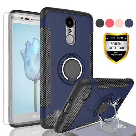 E30 Carbon - HJ Wireless LG Aristo Case,LG K8 2017 Case,Risio 2/Rebel 2 LTE/LG Phoenix 3/LG Fortune Case with HD Screen Protector, Rotating Ring Holder Dual Layer Shock Carbon Fiber Trim Cover for LG LV3-QV Blue