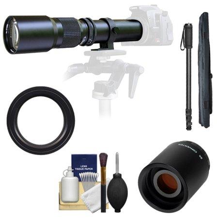 Samyang 500mm f/8.0 Telephoto Lens with 2x Teleconverter (=1000mm) + Monopod Kit for Pentax K-30, K-7, K-5, K-01, K-R Digital SLR Cameras