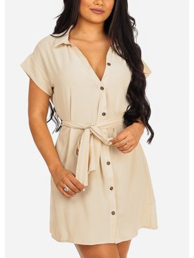 Womens Juniors Fashion Casual Everyday Wear To Work Short Sleeve Button Up Tie Belt Solid Beige Above Knee Shirtdress Dress 41513V