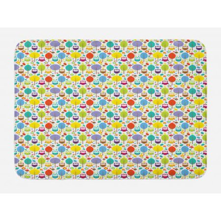 Owls Bath Mat, Cheerful Nature Theme Owl Figures Trees Leafs Mushrooms and Flowers in Lively Colors, Non-Slip Plush Mat Bathroom Kitchen Laundry Room Decor, 29.5 X 17.5 Inches, Multicolor, Ambesonne (Owl Themed Classroom)