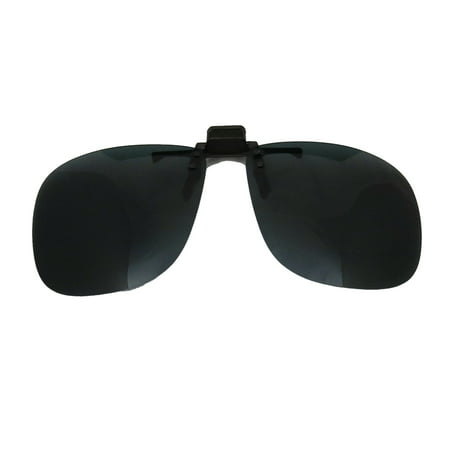 Clip-On Sunglasses: Flip-Up / Down Polarised Mens & Womens Grey UV Sun Lenses 60mm Wide, 53mm (Polarisation In Sunglasses)