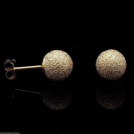 Round Star Stud (14K Solid Yellow Gold 6mm Star Dust Textured Round Ball Stud)
