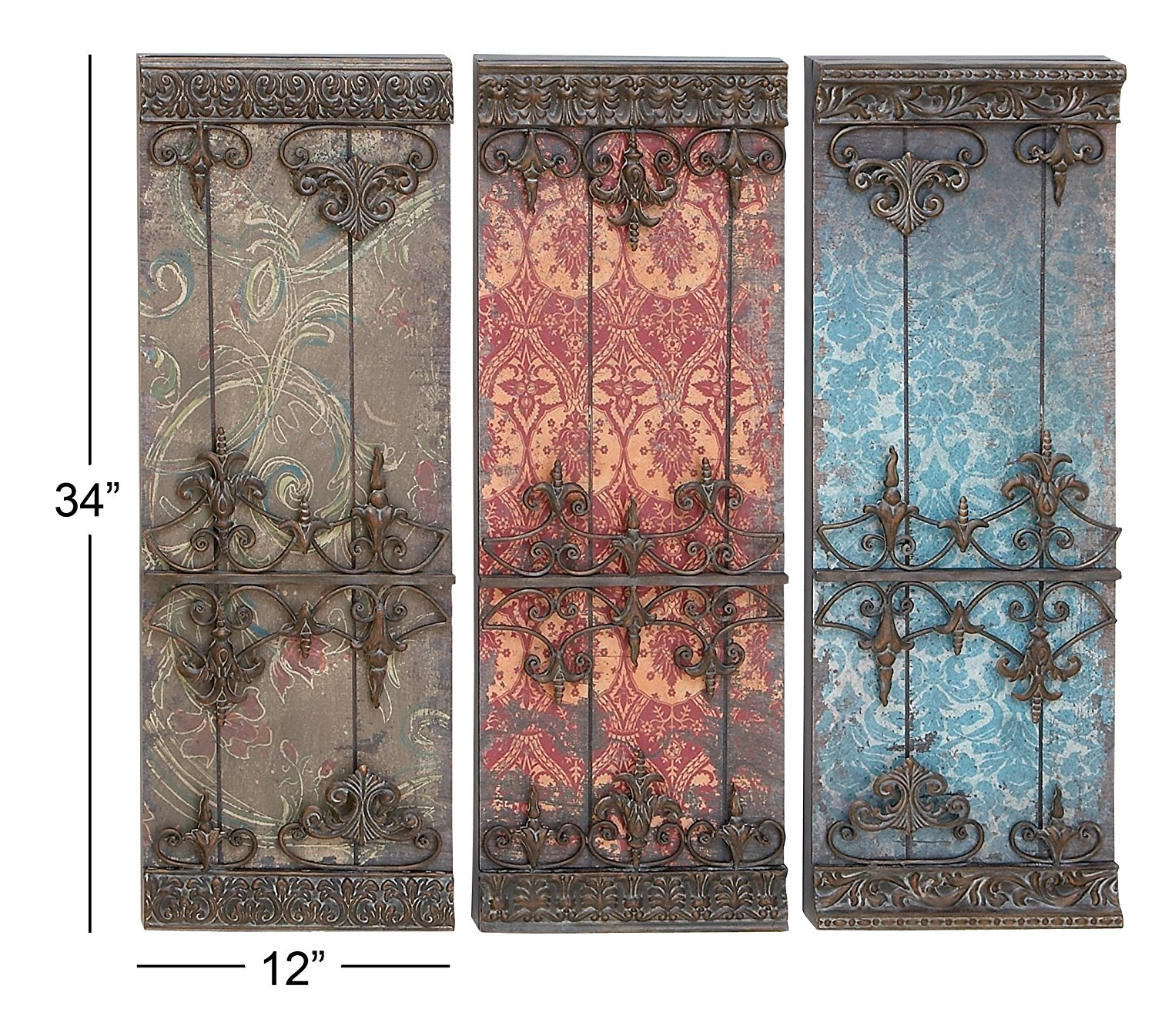 Deco 79 Metal Plaque Wall Decor 34 By 12 Inch 3 Assorted Colors