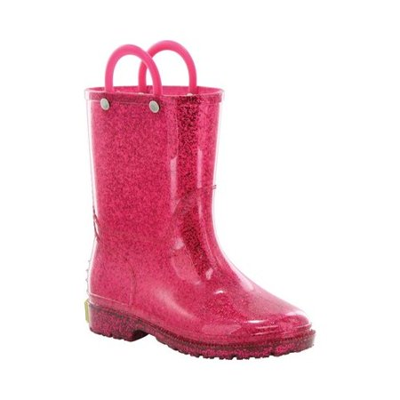 Western Chief Girls' Pink Glitter Rain - Hot Girls Boots