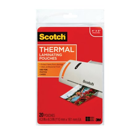 Scotch Thermal Laminating Pouches 20 Pack  Photo Size  4In  X 6In   20 Pouches Per Pack