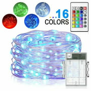 LED String Lights Battery Powered Multi-Color Changing String Light 16.4ft Copper Wire Firefly Lights 50LEDs Fairy Lights with Remote Timer for Indoor Outdoor Patio Garden Christmas
