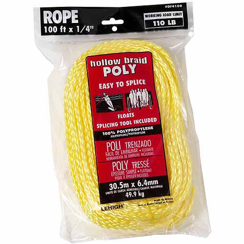 "Lehigh Group DF4100W-P Hollow Braid Polypropylene Floating Rope, 1/4"" x 100'"