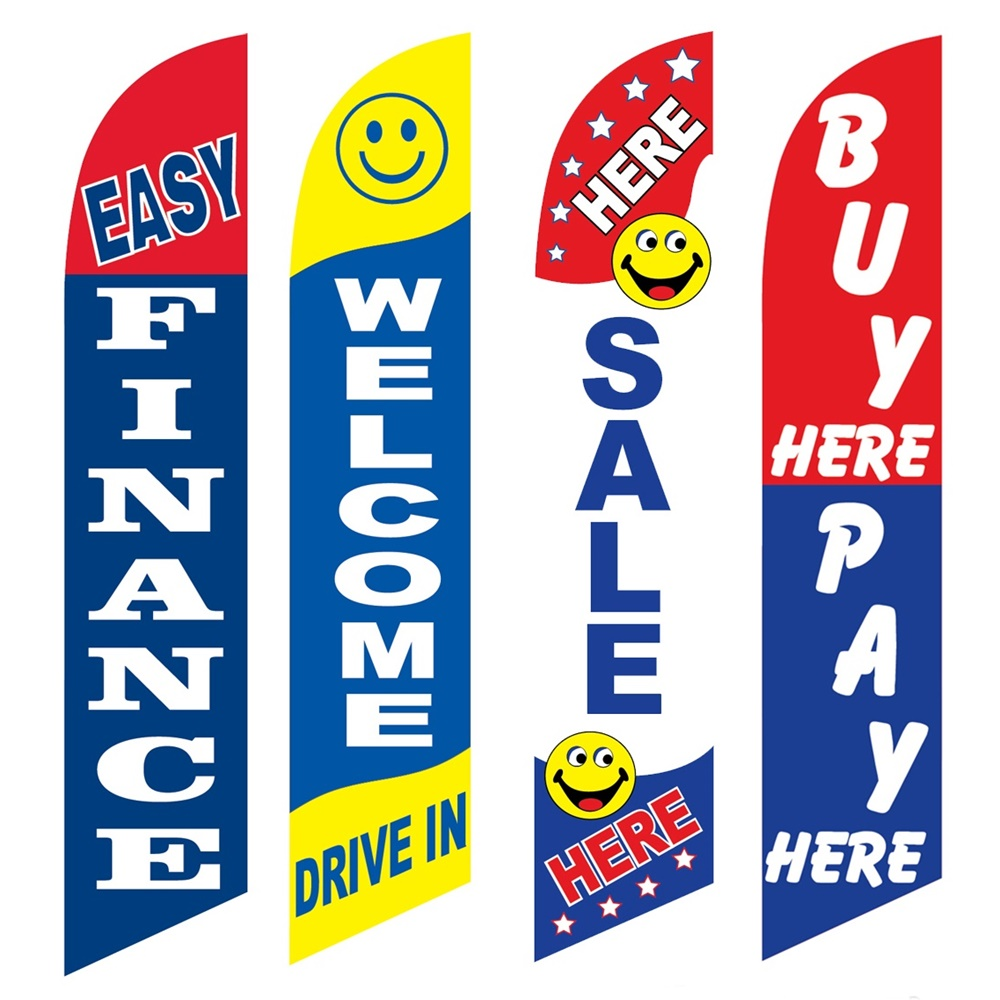 4 Advertising Swooper Flags Easy Finance Welcome Drive In Sale Here Buy Pay Here
