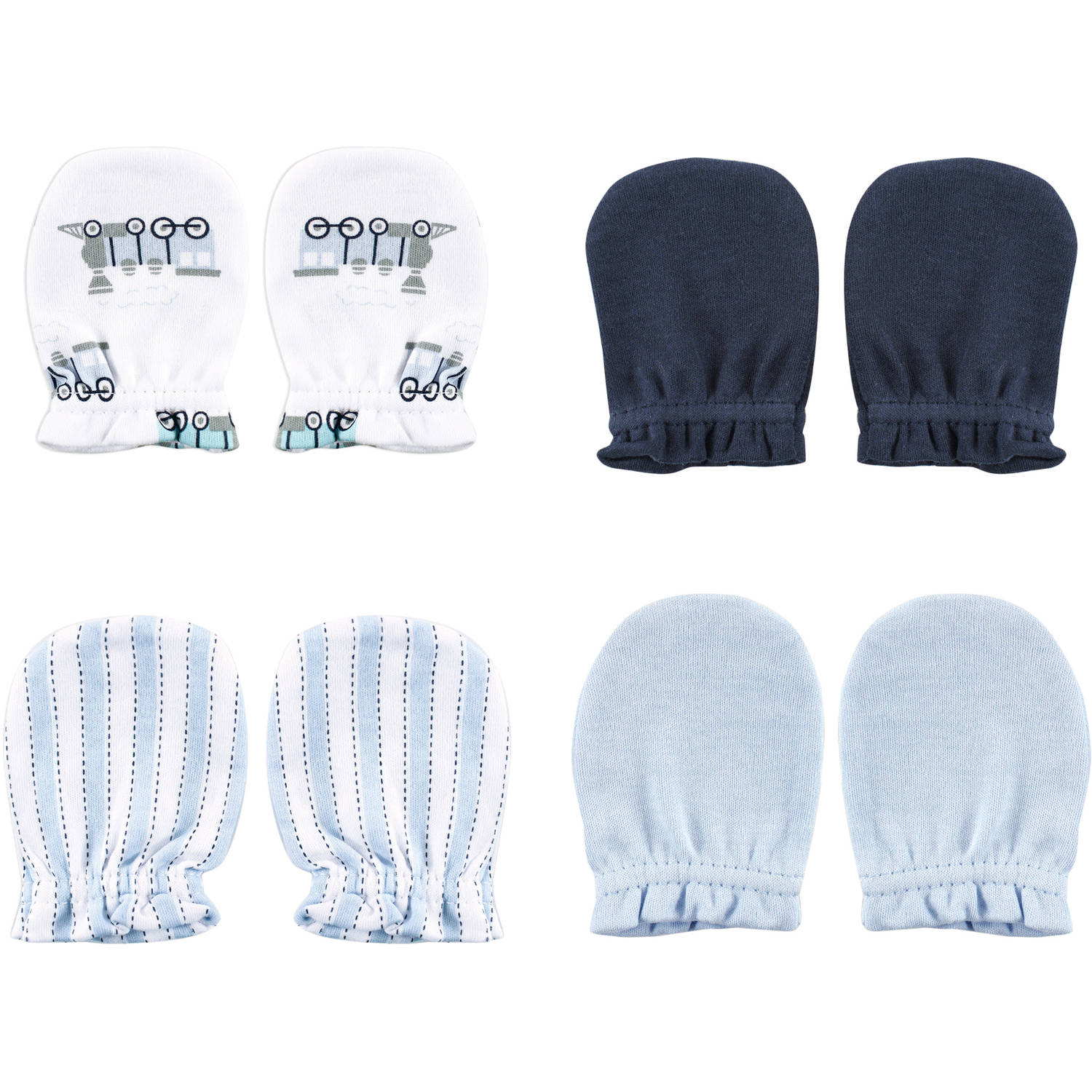 Luvable Friends Newborn Baby Boys Scratch Mitten 4-Pack - Train, 0-6 months