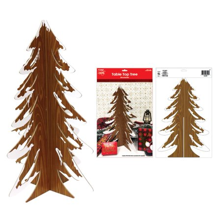 Frosted Faux Wood Christmas Tree Centerpiece by Holiday Essentials ()