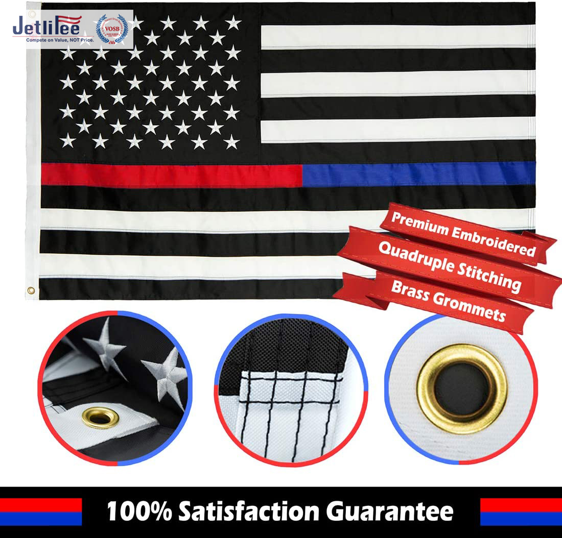 Blue Line Red Line USA American Flag Dog Tag Necklace Support Police Fire