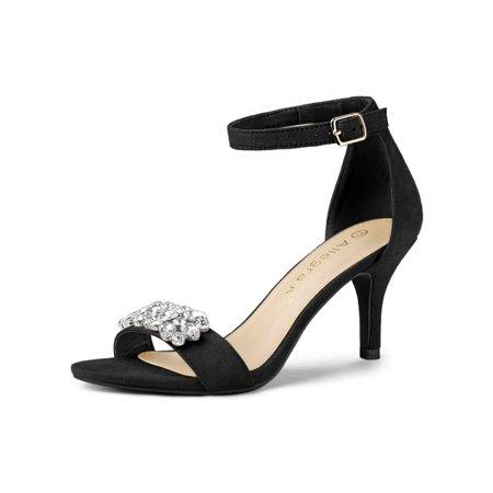 Black Spike Heel - Women's Rhinestone Open Ankle Strap Stiletto Heel Sandals Black (Size 9)