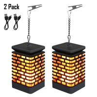 FGY Solar Lanterns Light USB Charging Flickering Flame Light Hanging Lanterns, 2 Pack (Black)