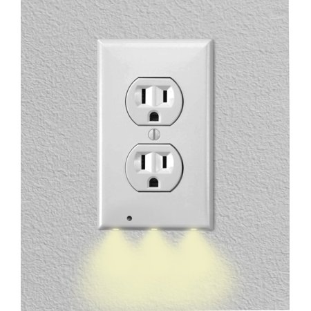 iTechDeals Gear Wall Outlet Coverplate w/ LED Night Lights (Auto (Time Night Light)