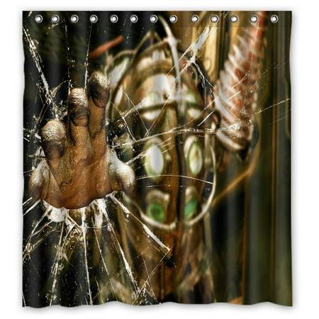 Ganma Cozy Robot Metal Rust Green Stylish Shower Curtain Polyester Fabric Bathroom 66x72 Inches