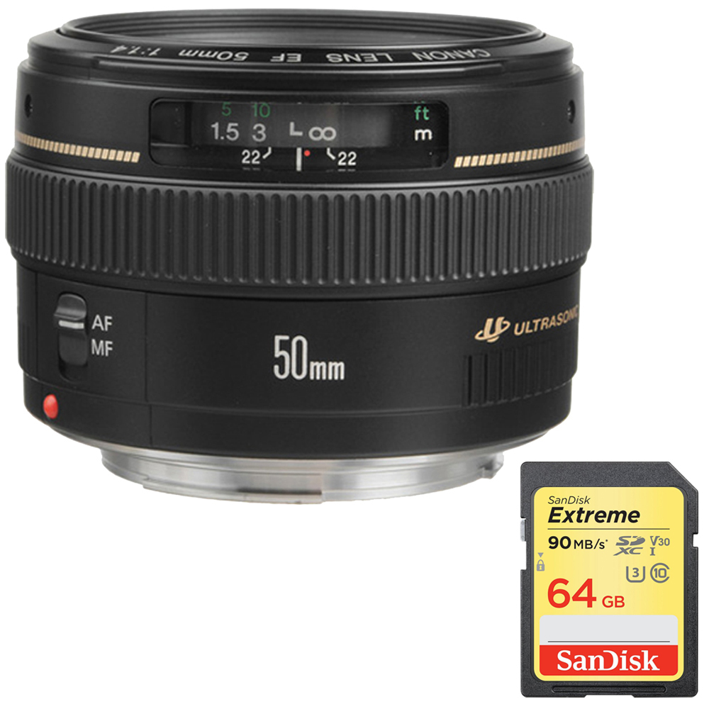 Canon EF 50mm f/1.4 USM Standard & Medium Telephoto Lens for Canon SLR Cameras (2515A003) with 64GB Extreme SDXC UHS-I Memory Card