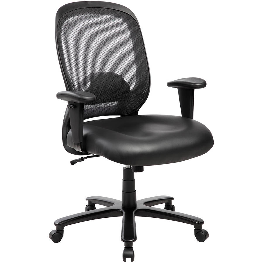 Techni Mobili Comfy Big and Tall Office Chair with Arms and Wheels, up to 400 lbs (RTA-5006-BK)
