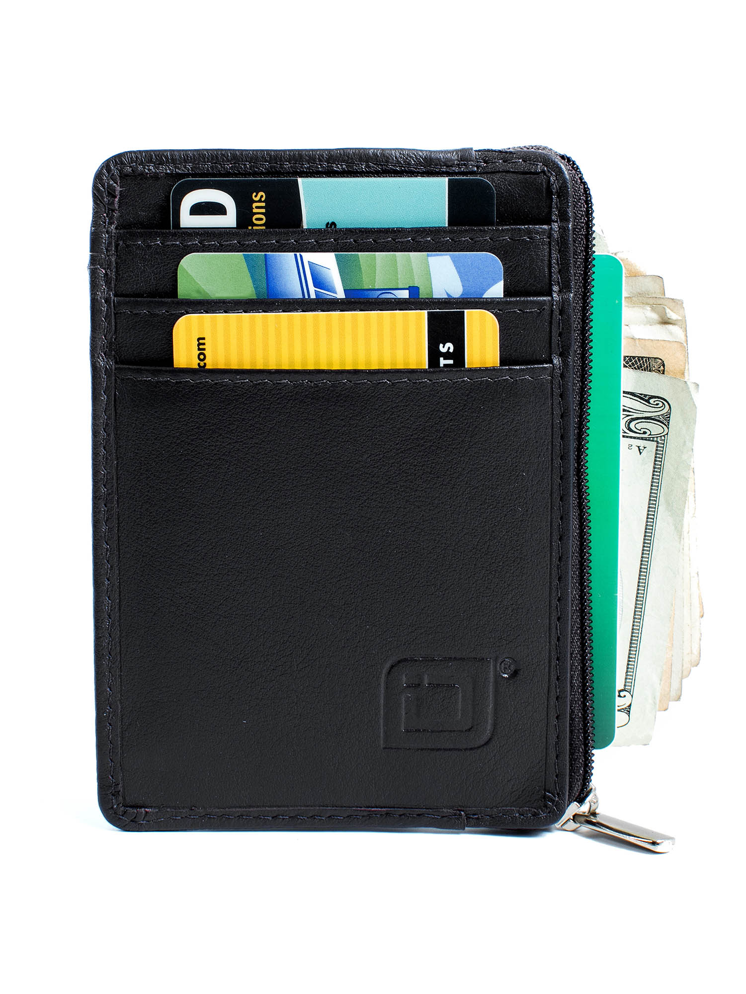 Womens Mini Credit Card Case Wallet with ID Window Front Pocket Wallet for Ladies and Girls Gray