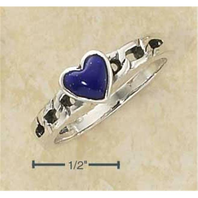 Sterling Silver Small Lapis Heart On Open Curb Link Band - Size 8
