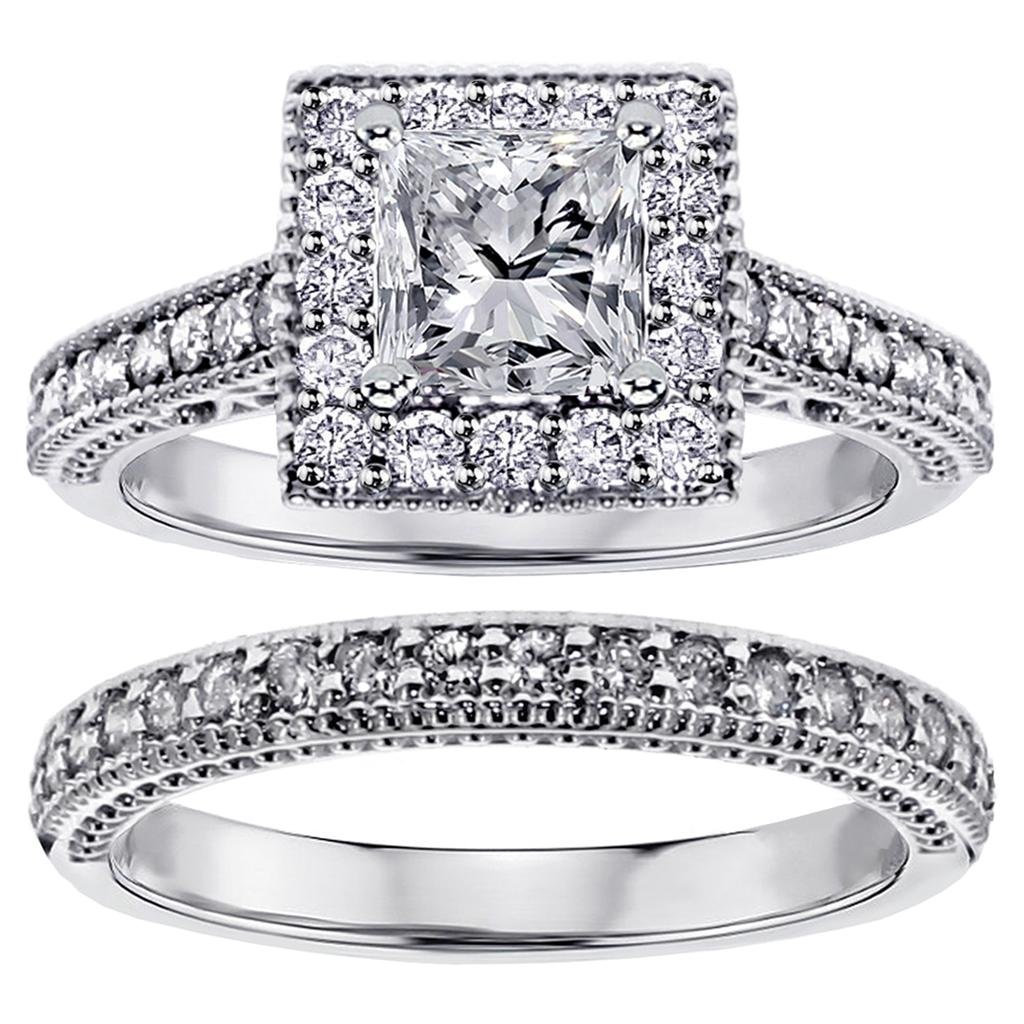1.40 CT Square Halo Princess Cut Diamond Engagement Bridal Set in White Gold