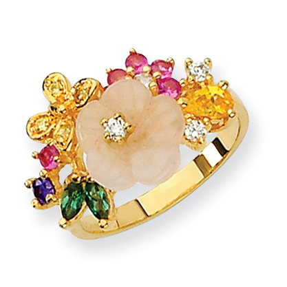 Sterling Silver CZ Gold-Plated Flower Ring