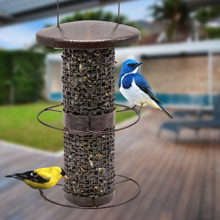Sorbus Bird Feeder – Circular Perch Hanging Feeder Finches Bird Seed More, Premium Iron Metal Design Hanger, Great Attracting Birds Outdoors, Backyard, Garden, Brown (Circular Perch)