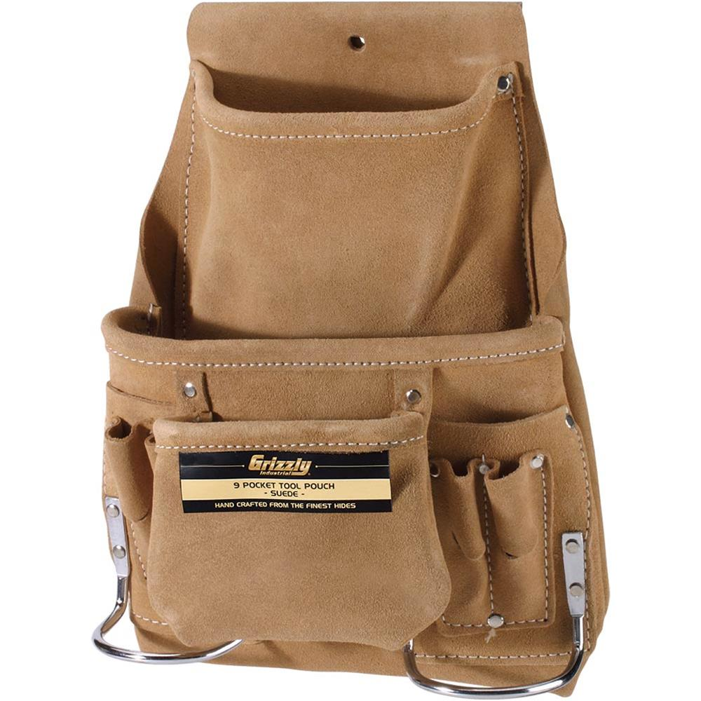 Grizzly H7680 9 Pocket Suede Tool Pouch