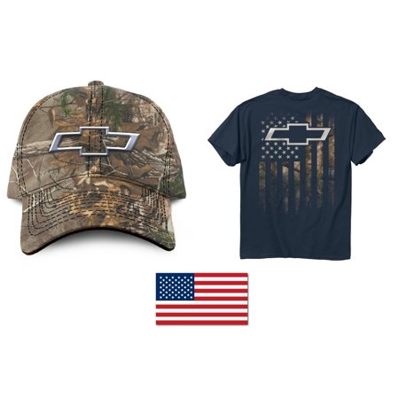 ExpressBeyond - Chevy Bowtie Camo Hat + Men s American Flag Chevy Bowtie  T-Shirt + American Flag Decal 2