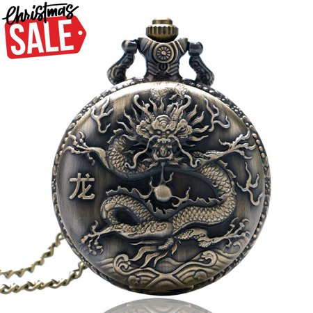 - Antique Dragon pocket watch Xmas Deal gift for Women, Zodiac 3D Dragon Necklace pocket watches Men's gift, Pendant Steampunk Quartz watch Christmas day gift for girl