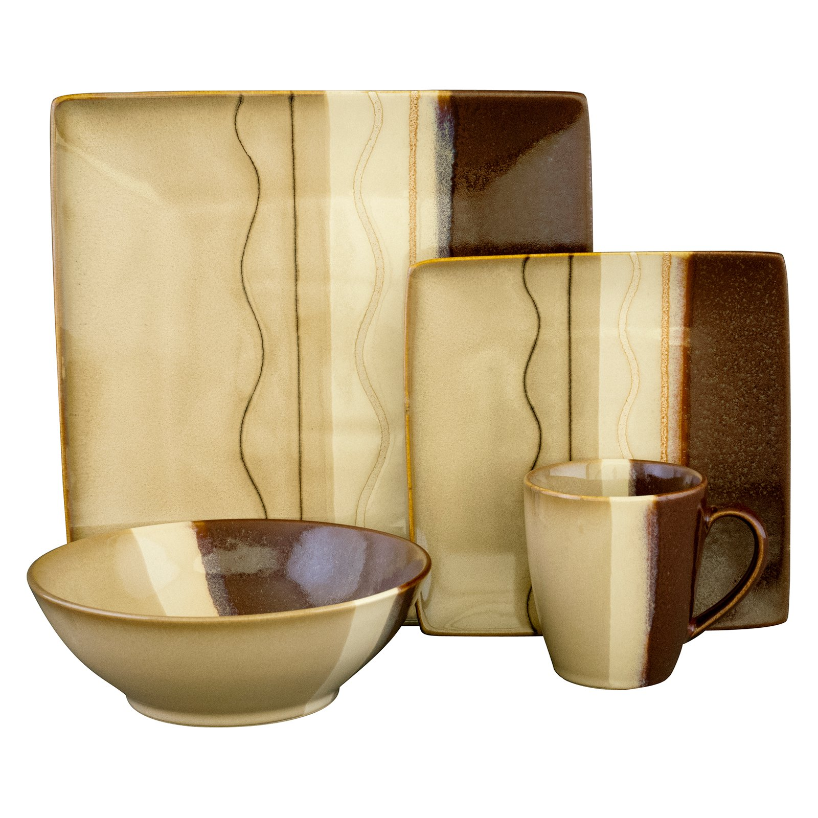 sc 1 st  Walmart & Sango Zanzibar Dinnerware - Brown - Set of 16 - Walmart.com