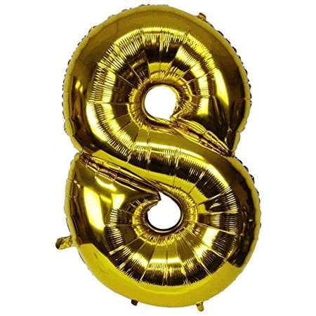 Just Artifacts Glossy Gold (30-inch) Decorative Floating Foil Mylar Balloons - Number: 8 - Letter and Number Balloons for any Name or Number Combination! - Name Ballons