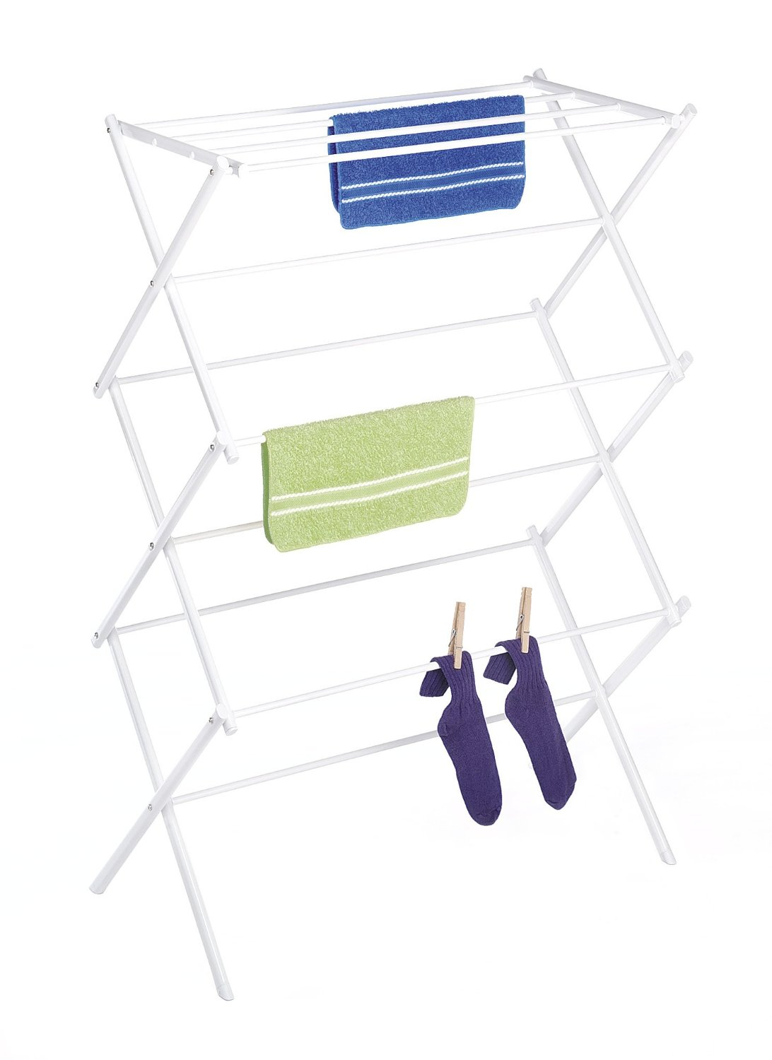 Folding Clothes Drying Rack, White, Rust-Proof Guarantee, Premium Quality 11 Hanging Bars, USA, Brand Whitmor by