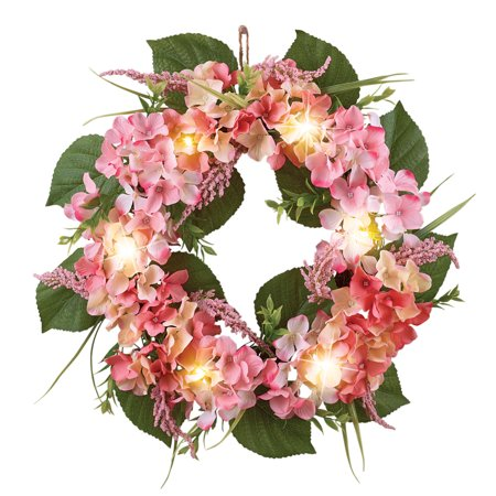 Rose Cream Hydrangea Floral Spring Summer Front Door Wreath With