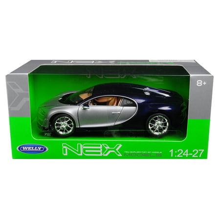 Bugatti Chiron Silver   Blue 1 24   1 27 Diecast Model Car By Welly