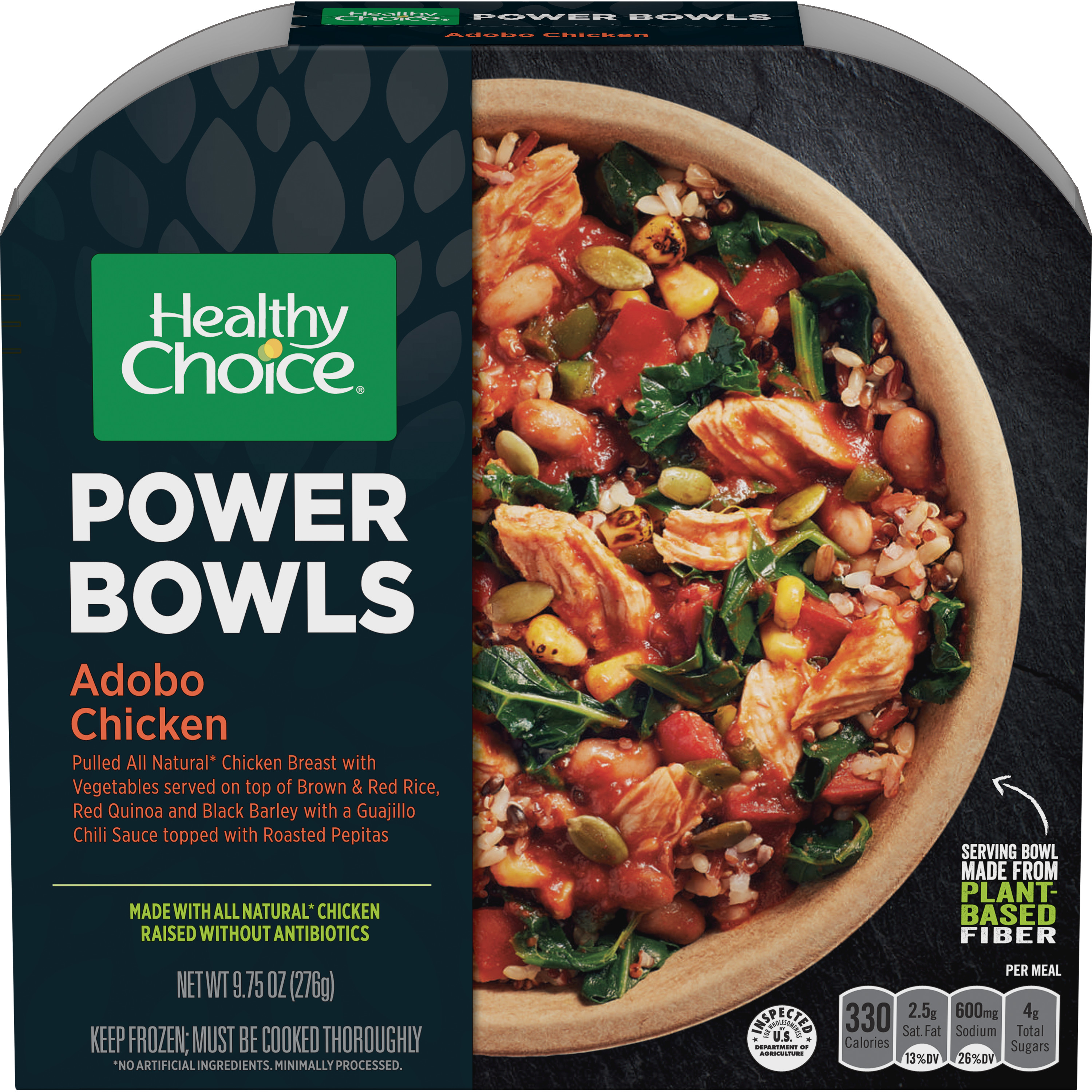 Healthy Choice Power Bowls Frozen Dinner, Adobe Chicken Bowl, 9.75 Ounce